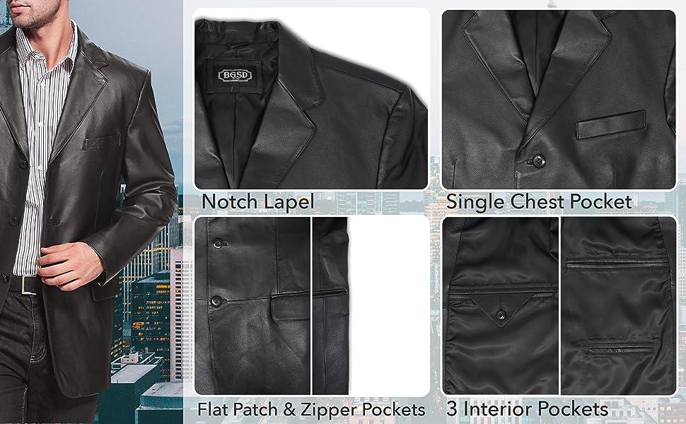 BGSD Men's Leather Blazer