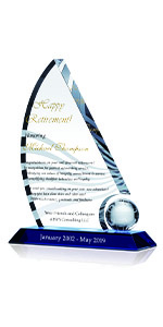 Personalized Crystal Sail Happy Retirement Gift Plaque