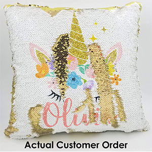 golden unicorn sequin pillow