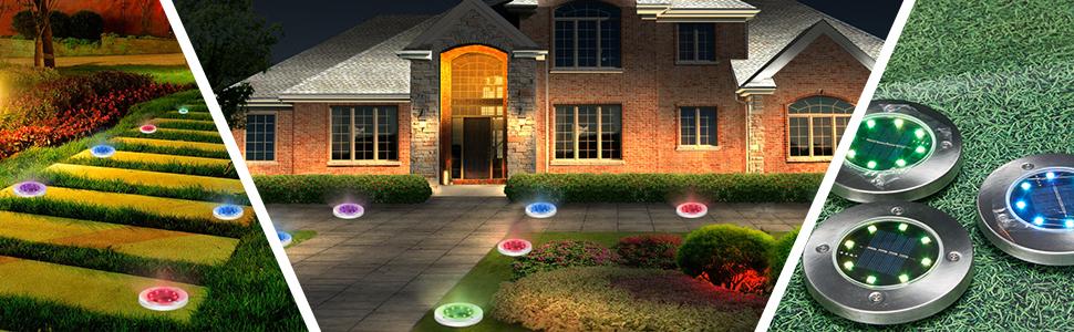 solar ground light outdoor led disk light outdoor ground solar light white garden pathway lawn light