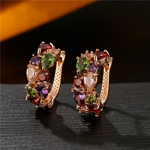 Multicolor Swiss zircon Clip-On Earrings