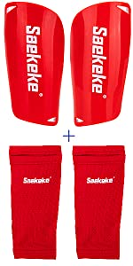 Shin Guards with Sleeves Red