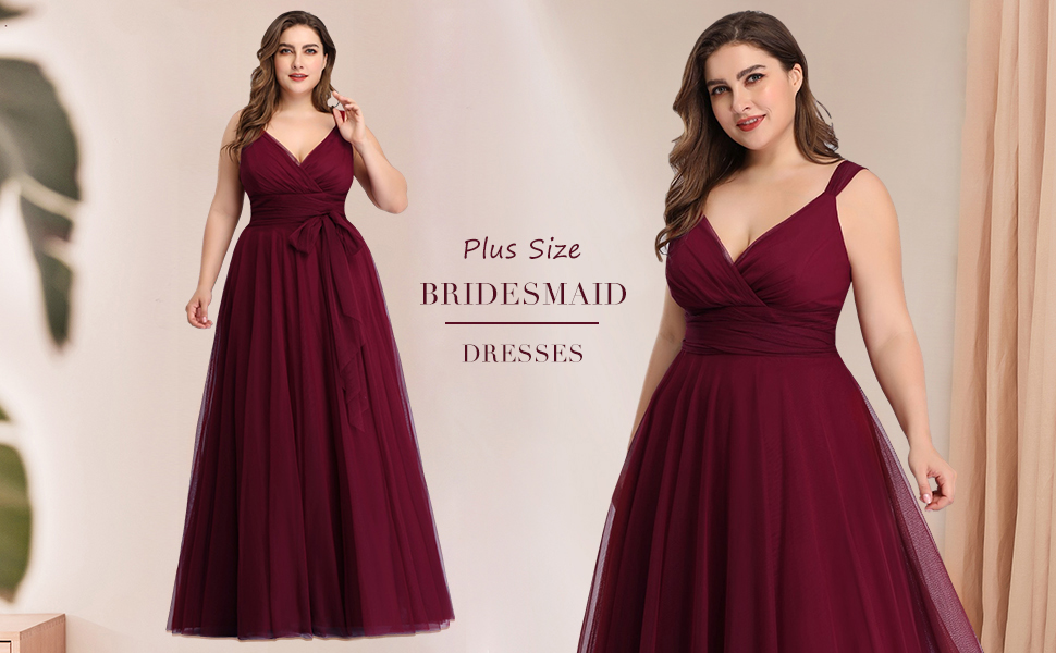 Ever-Pretty Women's Plus Size V-neck Sleeveless Bridesmaid Dress for Women Sexy Fomal Party Dresses