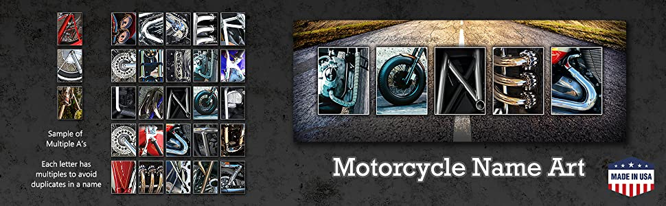 Motorcycle Alphabet Sign Gift for him using photos of motorcycles and motorcycle parts
