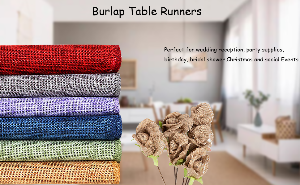 B-COOL Burlap Table Runner 12x108 Inch 2 Pieces Dresser Cover for Farmhouse Jute Table Runner Fabric Wedding Party Fall Decorations Khaki