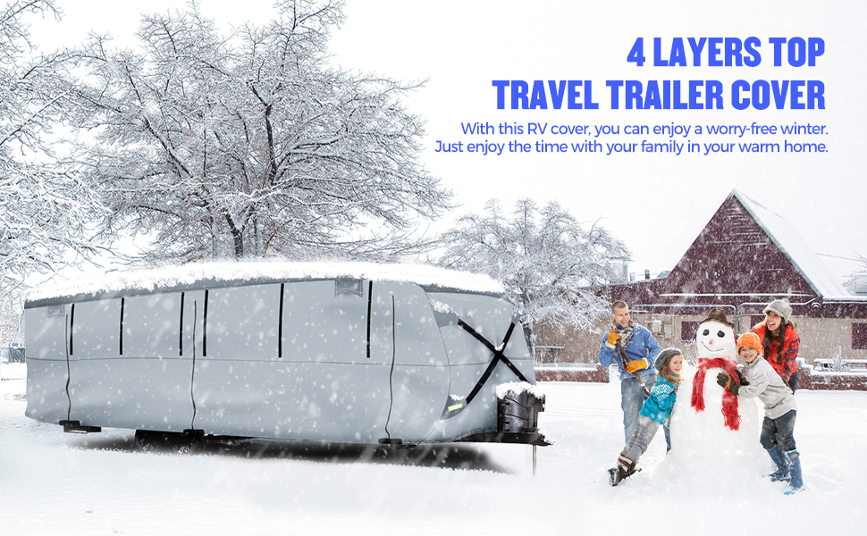 BougeRV Travel Trailer RV Cover Camper Cover Snow Cover