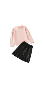 Pink Top and PU Skirt Set