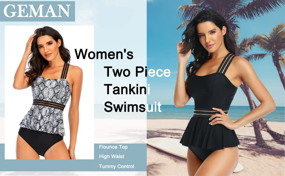 Women's Retro High Waisted Bathing Suit Printed Two Piece Swimsuit Ruffled Tummy Control Tankini