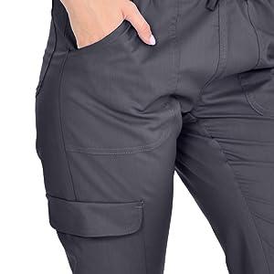 Close-up of cargo pocket on MediChic Marilyn Monroe MM1404 women's scrub pant