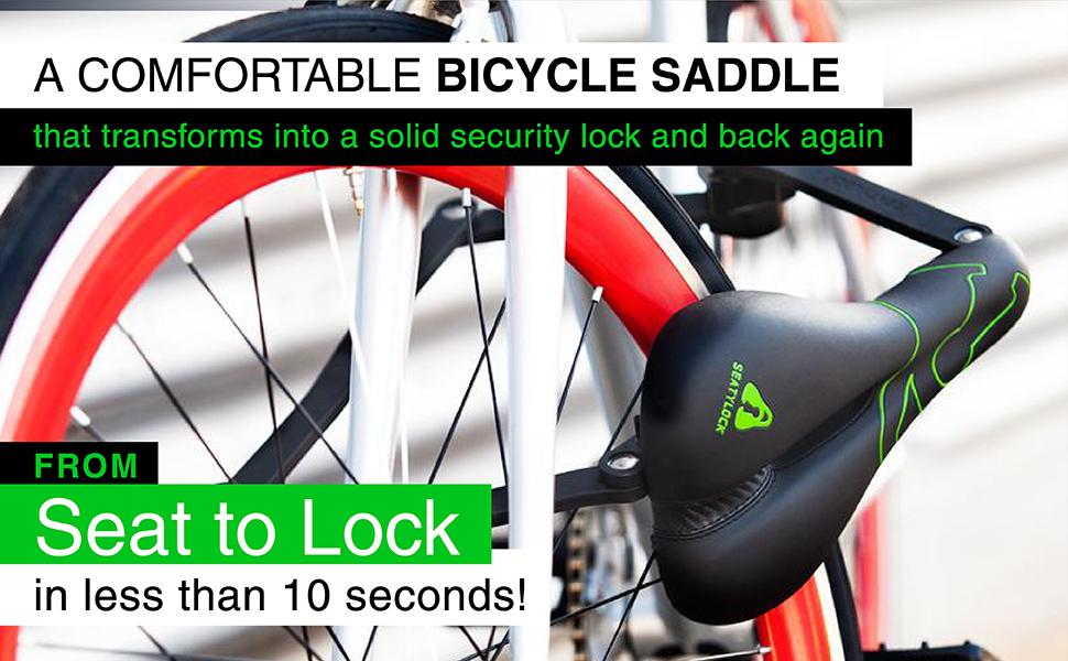 seatylock舒适的自行车座椅,可在不到10秒的时间内变成安全锁
