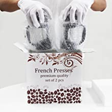 French press with color box