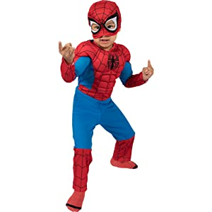 spiderman costume for kids closeup, superheroes, red and blue, jumpsuit, mask, gloves