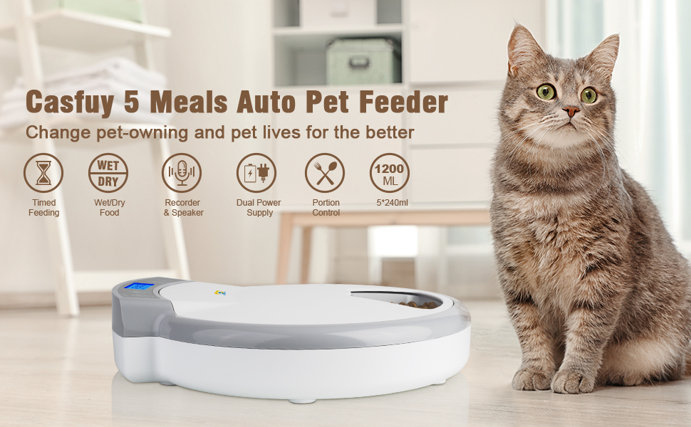 Casfuy 5 meals auto cat feeder