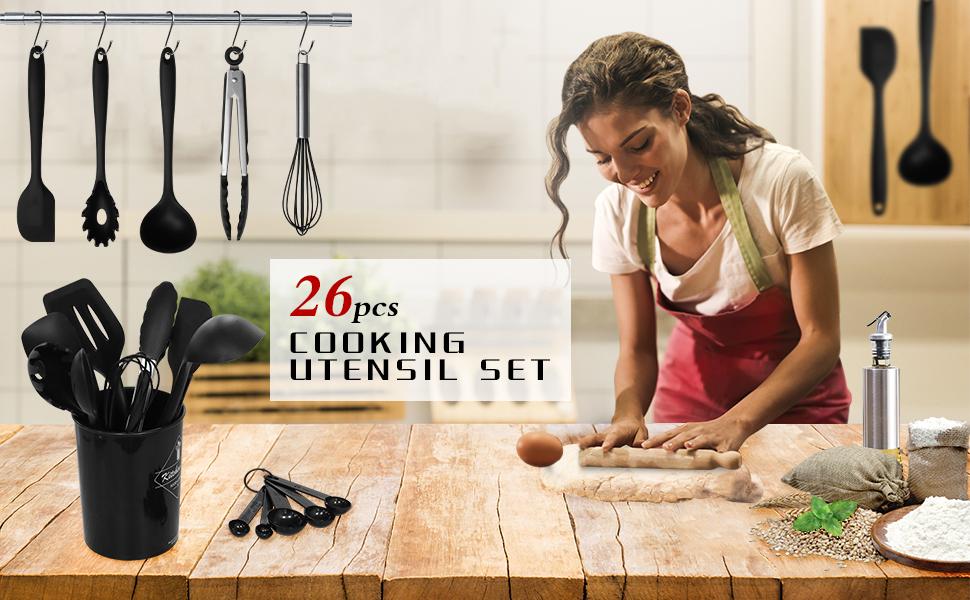 Herda cooking utensil set kitchen utensils set for nonstick pan pot