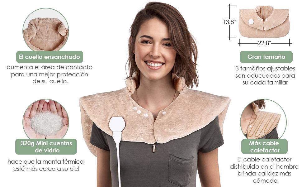 SIMBR Manta Eléctrica para Espalda y Cuello Almohadilla Térmica ...