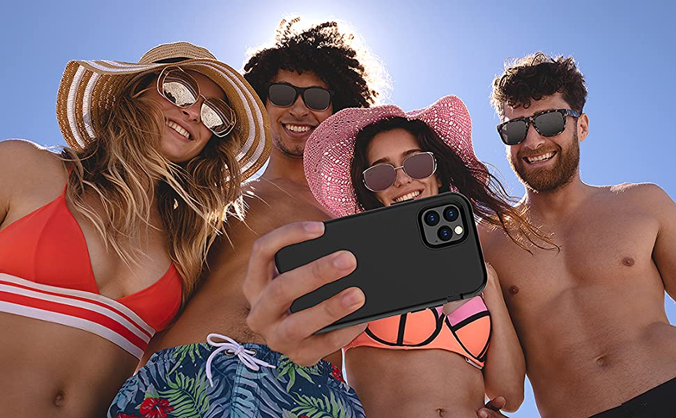 """People taking a selfie with a Kit Me Out World heavy duty phone case Apple iPhone 11 Pro Max 6.5"""""""