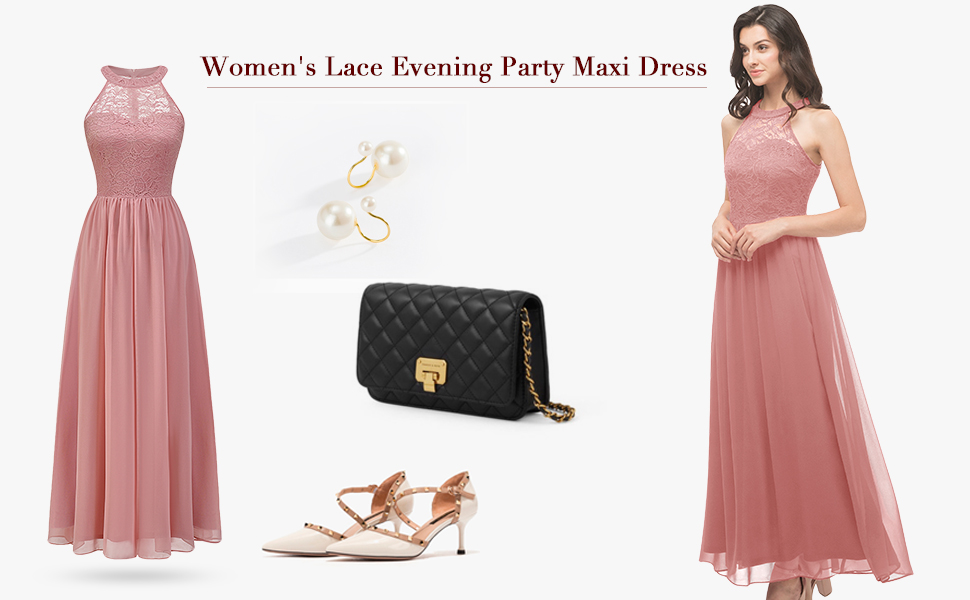 Wedtrend Halter Floral Lace Long Chiffon Bridesmaid Cocktail Party Dress