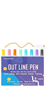 8 Colors Metallic Outline Pens