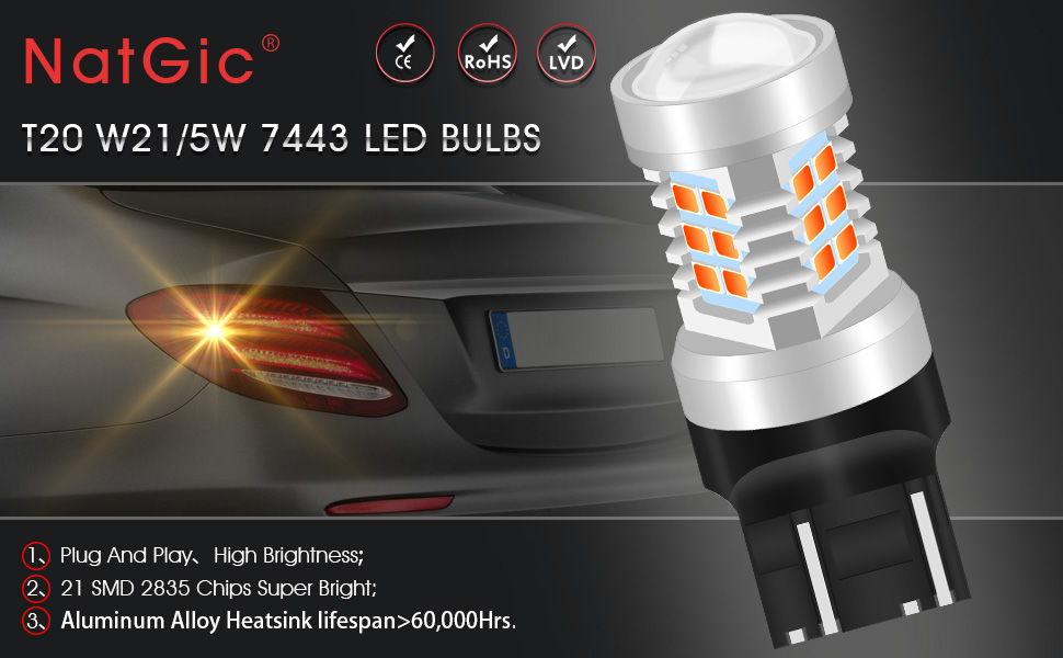 NATGIC 7443 7444NA LED BULB Auto 7440 7440NA 7441 992 T20 2835 21 SMD Chipsets LED Bulbs with Lens Projector Brake Turn Signal Tail Backup Reverse Lights,Red 10-16V 10.5W 2-Pack
