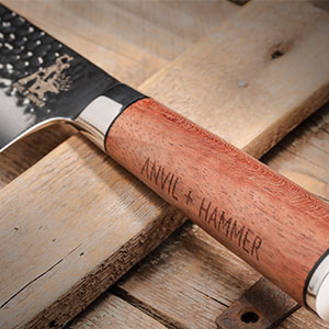 rosewood knife handle, woode knife handle, hammer finish damascus blade, full tang chef knife