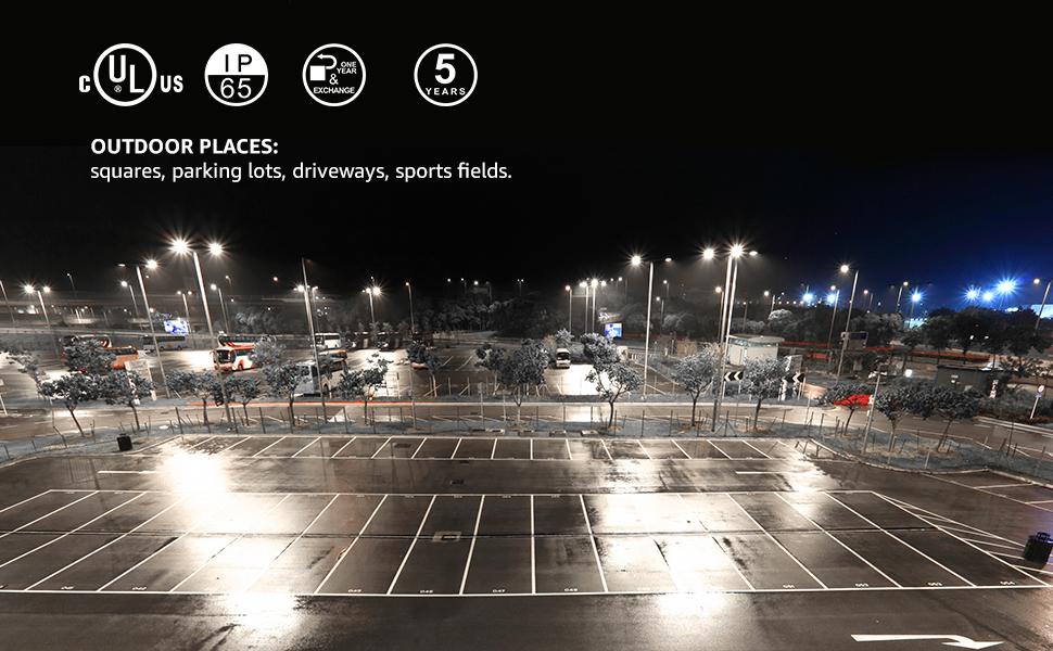 Hyperlite Led Parking Lot Lighting 150w 20 250lm 135lm W 5000k Ul Dlc Certified Ip65 Led Shoebox Light With Dusk To Dawn Photocell Single Easy