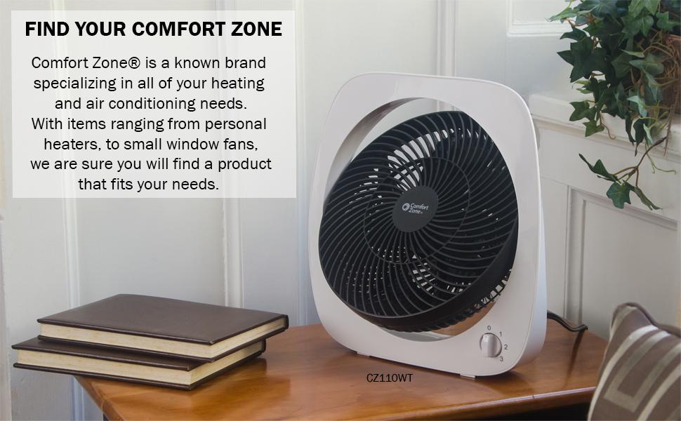 Comfort Zone brand, table fan, white fan, desk fan,