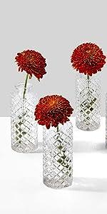 Diamond Cut Clear Bud Vase, Set of 4 Home Decor Events Parties Weddings Spa Restaurants