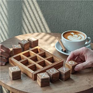Tic Tac Toe Wooden Game for Kids and Family Board Games 3D Travel of Living Room Decor