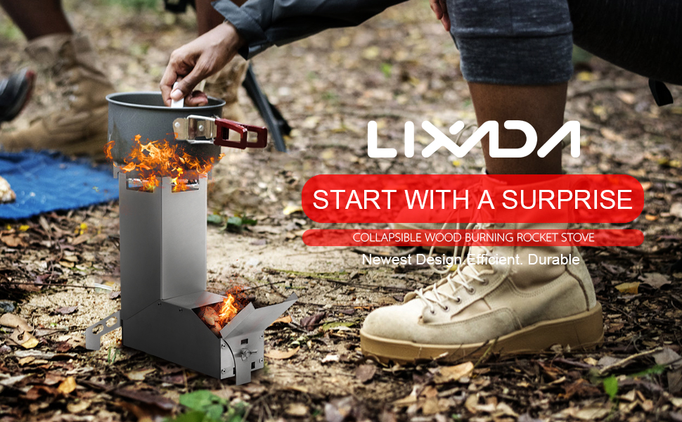 Details about  /Lixada Camping Stove Collapsible Wood Burning Stainless Steel Rocket Stove Backp