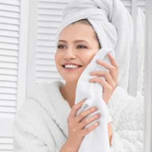 woman using radiance towels