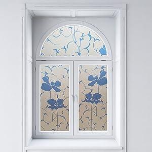 Blue Window Film Flower