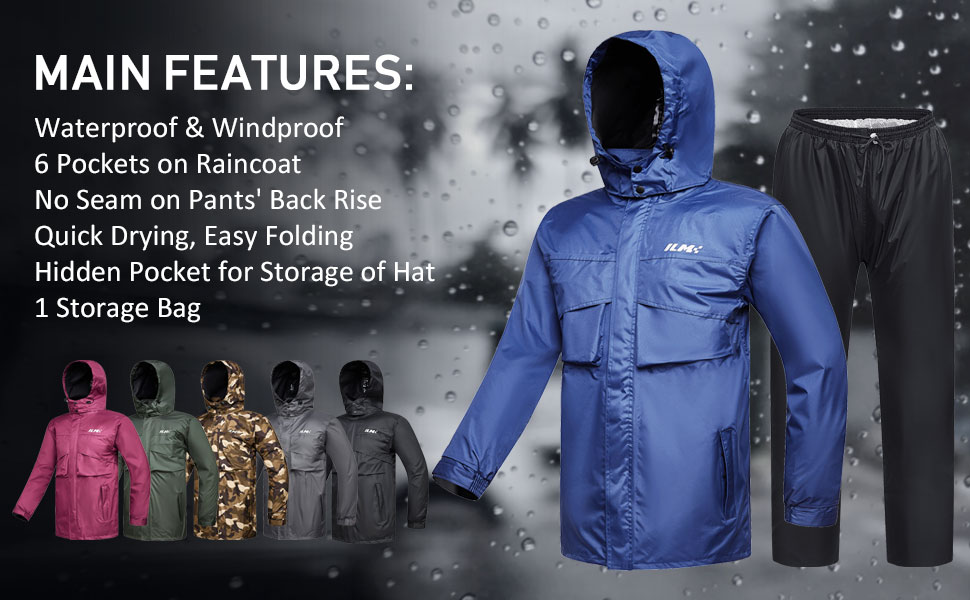 ILM Motorcycle Rain Suit Waterproof 6 Pockets 2 Piece Set with Jacket and Pants Fits Men Women