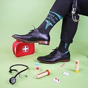 doctor, medical, socks, fun