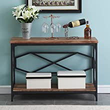 console table with storage shelf