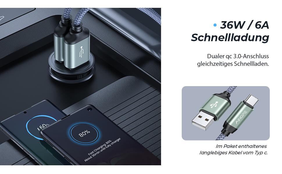 Auto Ladegerät kfz Ladegerät Auto USB Zigarettenanzünder USB ladegerät Kfz Ladeadapter