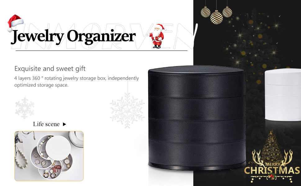 360 Degree Rotating Jewelry Storage Box 4 Layers Jewelry Organizer Holder for Necklace Bracelet Ring Earring Small Items Container Case Delymc DN01 Jewelry Box
