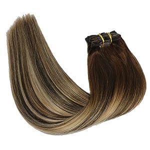 Mushroom brown clip in hair extensions