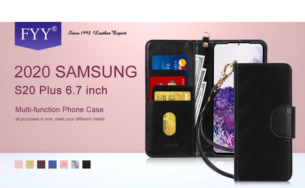Coque Samsung Galaxy S20 Plus, S20 5G, FYY Samsung S20 Plus Étui portefeuille fait à la main en cuir PU de luxe avec [emplacements pour cartes] ...