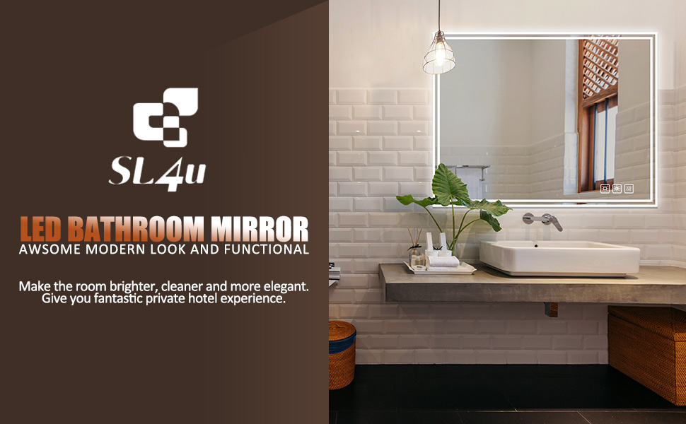 SL4U Dimmable Led Lighted Bathroom Mirror Illuminated Wall Mounted Vanity Mirror