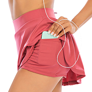 Athletic Pleated Tennis Skirts for Women with Shorts Pockets High Waisted Running Workout Golf Skort