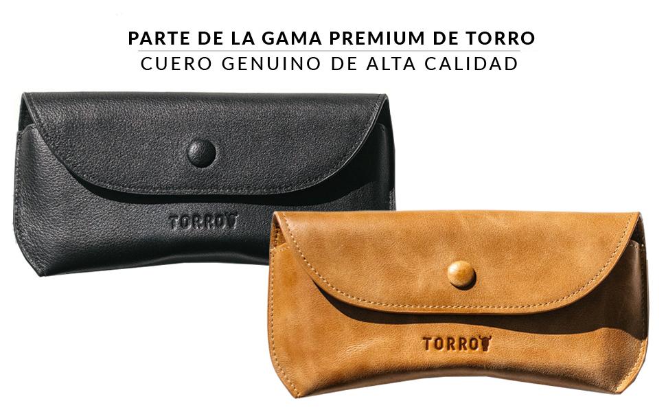 TORRO Funda de Cuero Genuino para Gafas y Gafas de Sol