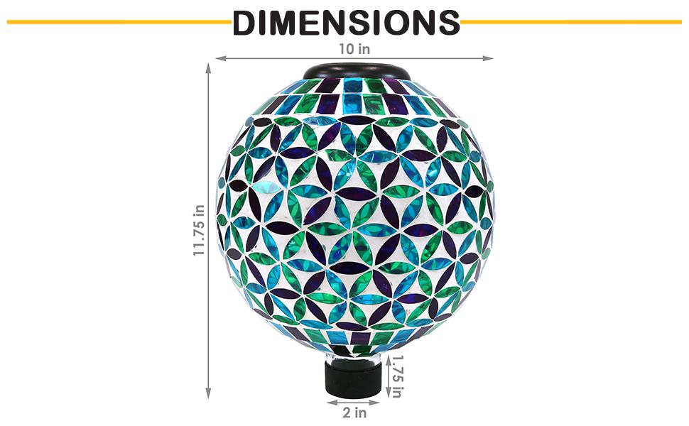 dimensions of gazing globe