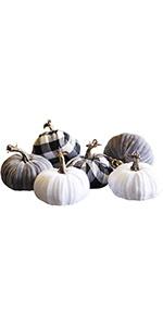 Thanksgiving Decorations Artificial Pumpkin, Set of 6 Foam Lint Pumpkins