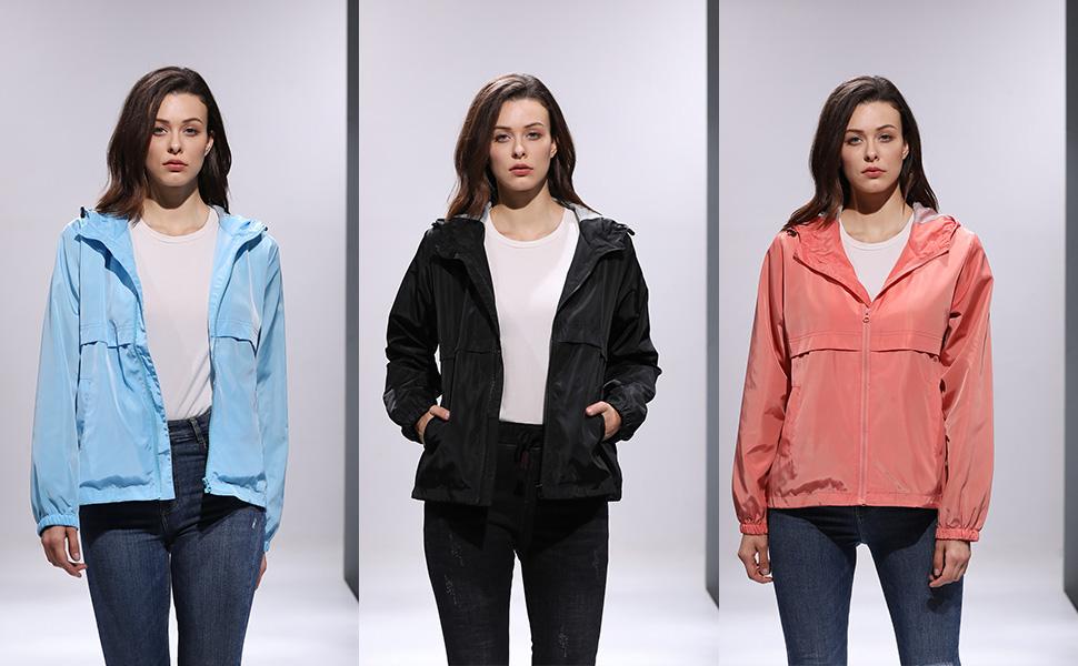 2iloveSIA Women's Rain Jacket Water Resistant Windbreaker Hoodie with Pocket