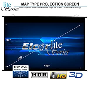 map type Projector screen 150 Inch diagonal