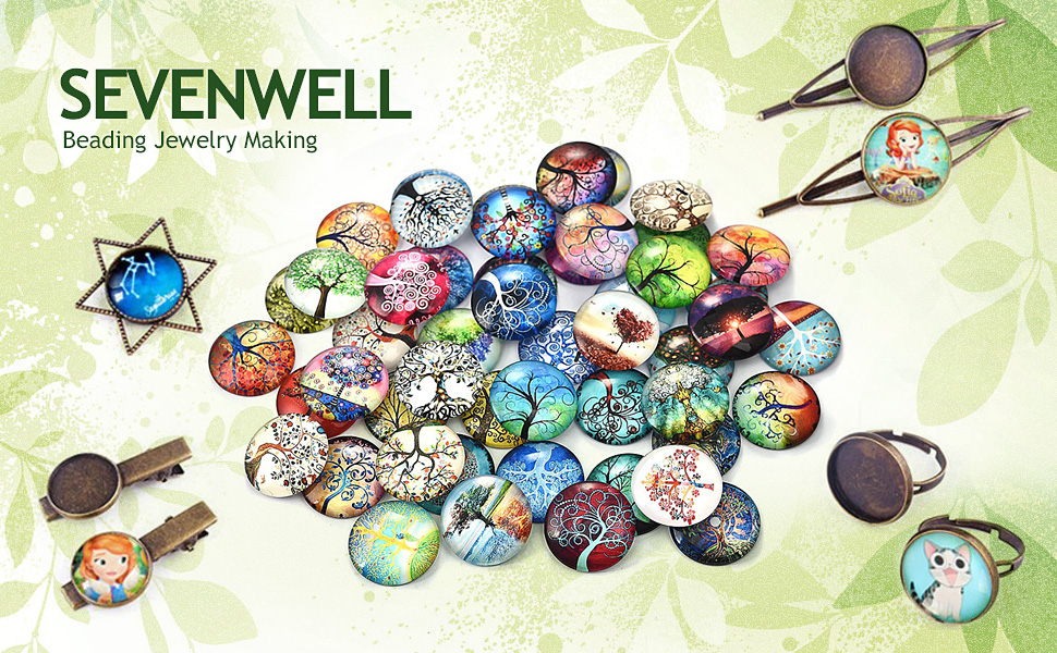 jewelry Cabochons finding beads,Glass Cabochons,flower Lucky Tree--09 2pcs of the 25mm Round Glass Cabochons Tree Of Life