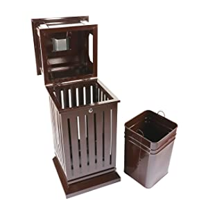 trash can inside cabinet