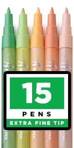 Paint pens for Rock Painting, Stone, Ceramic, Glass, Wood. Set of 15 Acrylic Paint Markers extra Fin