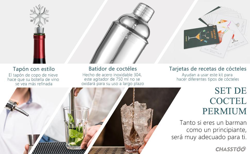 CHASSTOO Cocktail Kit Juego de Coctelera Profesional, Coctelera para Cócteles 750ml, Kit Cocteleria de Acero Inoxidable, Barman Set de Cocteleria con ...