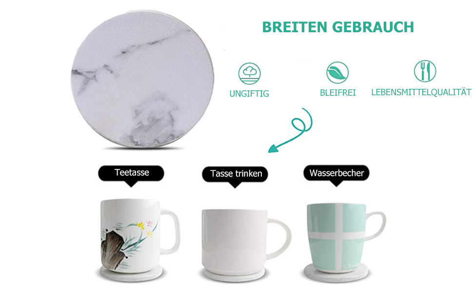 mit Halter 6-Teilig Runde Tasse in Marmor Schwar 9P1 Untersetzer für GeträNke